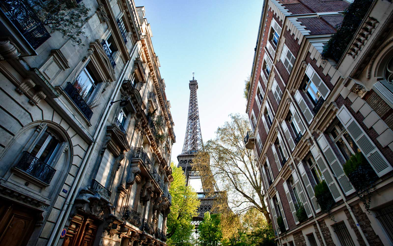 Neighborhood view of the Eiffel Tower, Paris, France