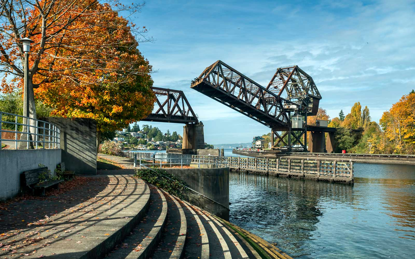 The Salmon Bay Bridge over the Ballard Locks in Seattle