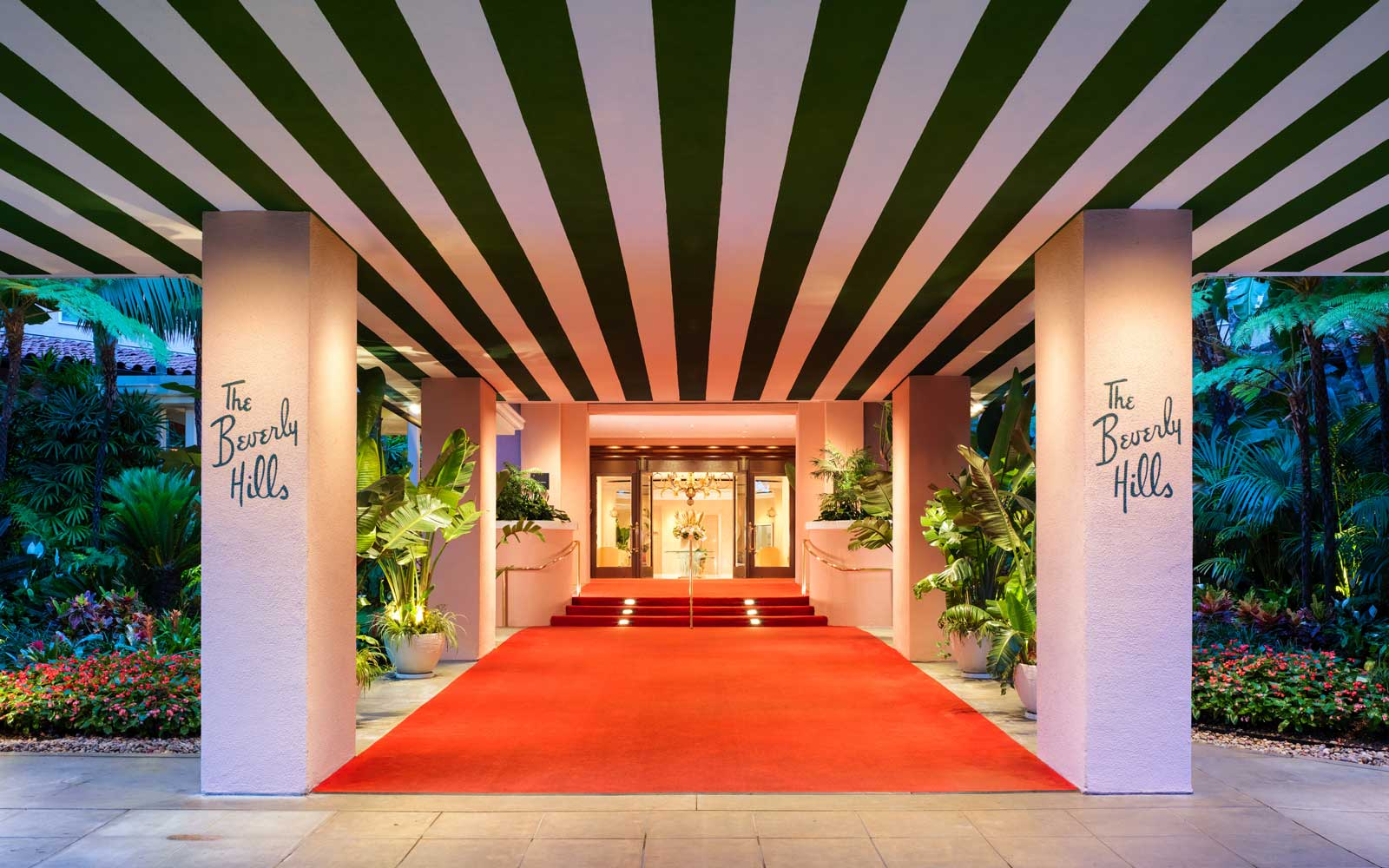 Entrance of the Beverly Hills Hotel in Los Angeles, California