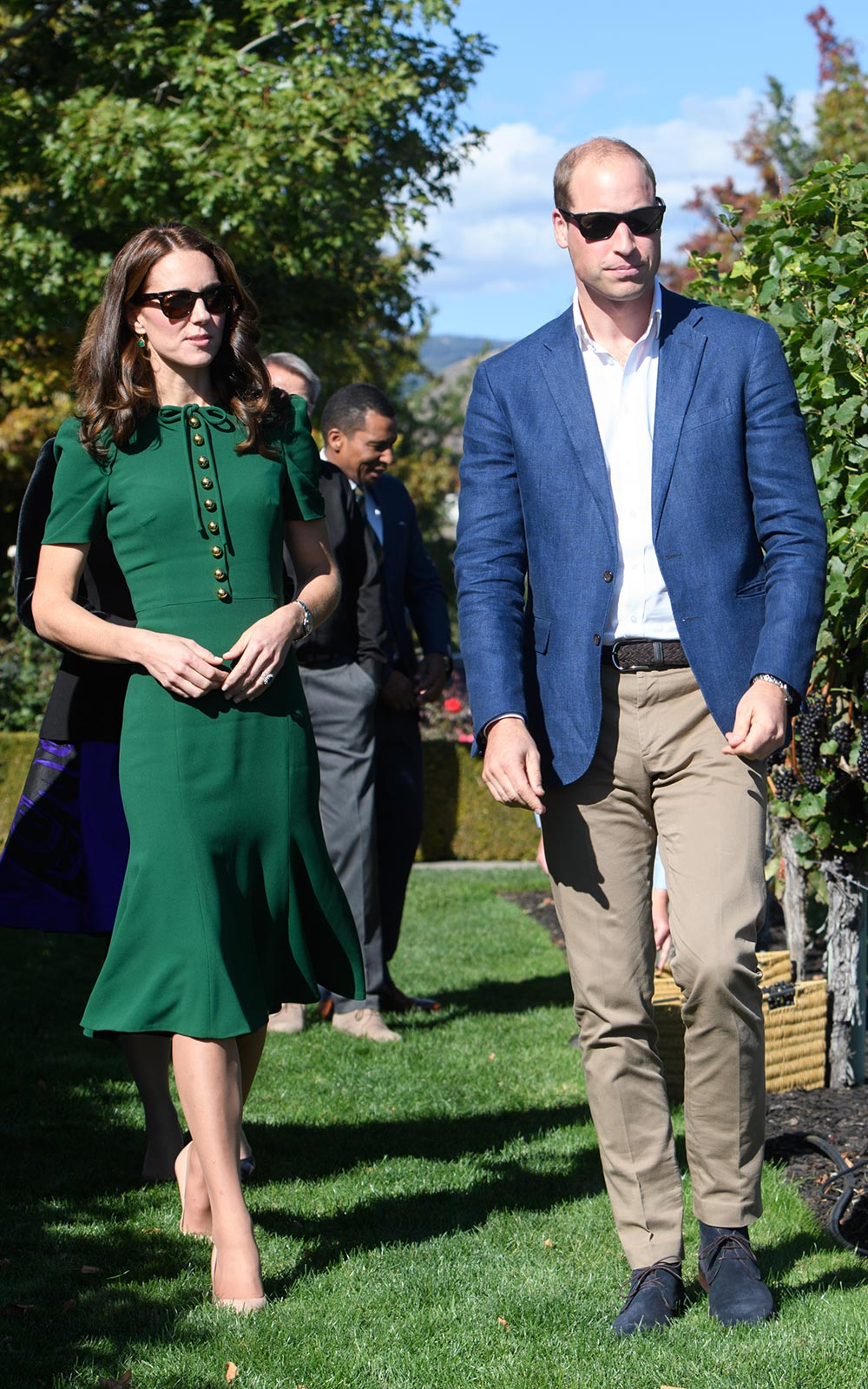 The Duke and Duchess of Cambridge walk along Mission Hill Winery in Canada
