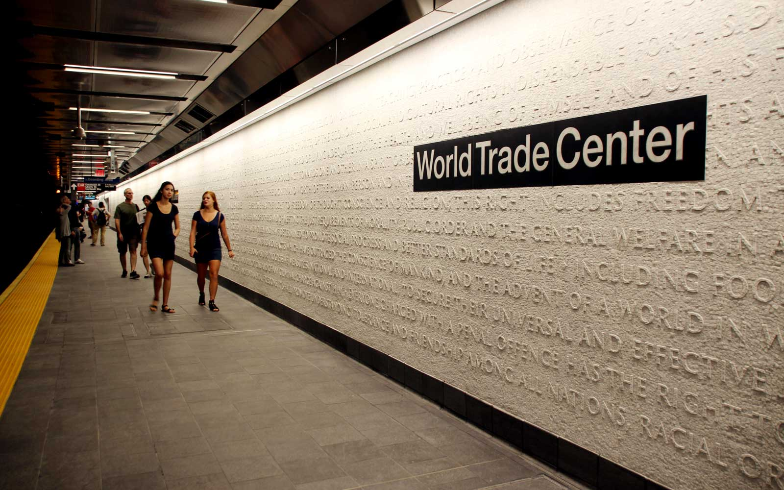 The reopened underground station WTC Cortlandt in New York. Almost 17 years after the terrorist attacks on the World Trade Center in New York, the subway station destroyed under the collapsing twin towers has reopened.