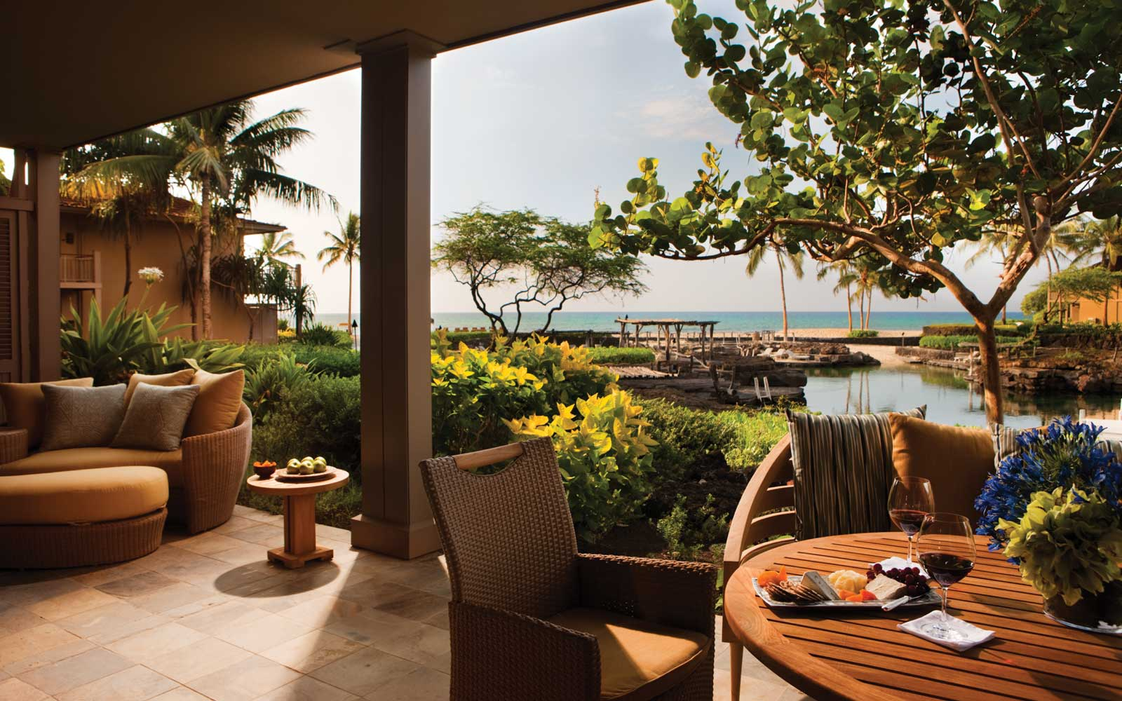 View from the terrace at the Four Seasons Resort Hualalai, in Hawaii