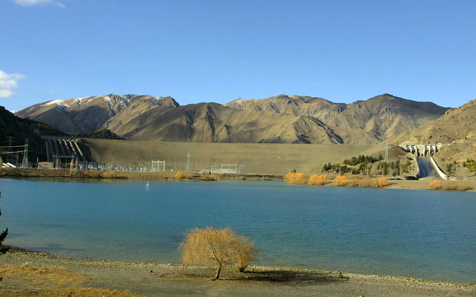 The lake at the Benmore dam and Power Station in the Waitaki Valley