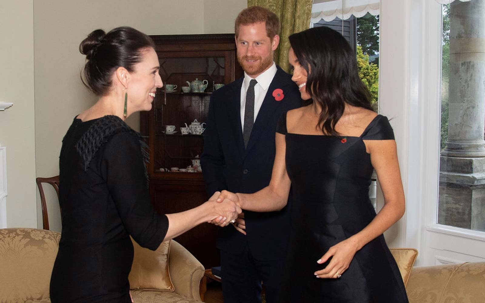 Britain's Prince Harry and his wife Meghan, the Duchess of Sussex, meet with New Zealand's Prime Minister Jacinda Ardern