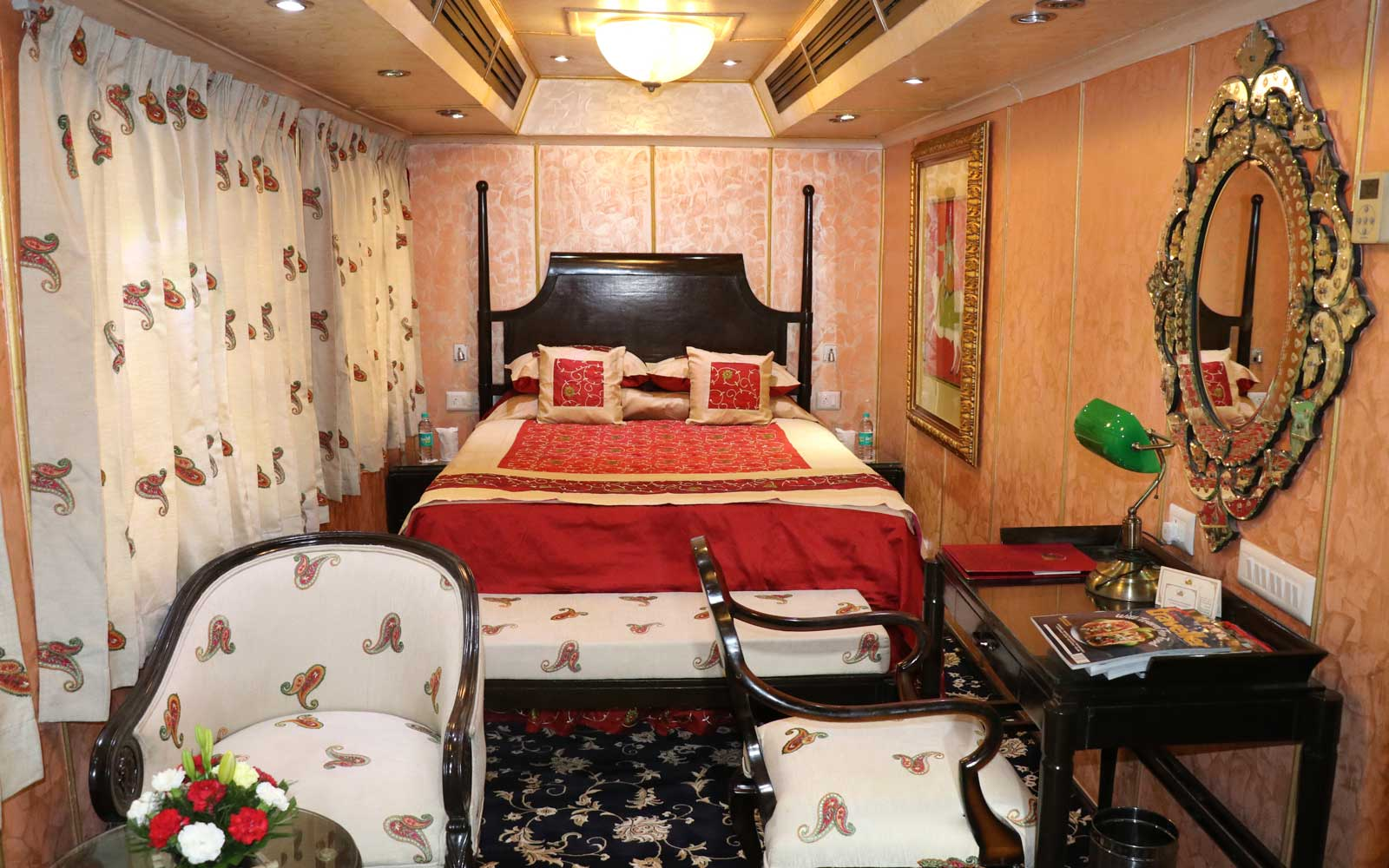 Bedroom on board the Palace on Wheels luxury train in India