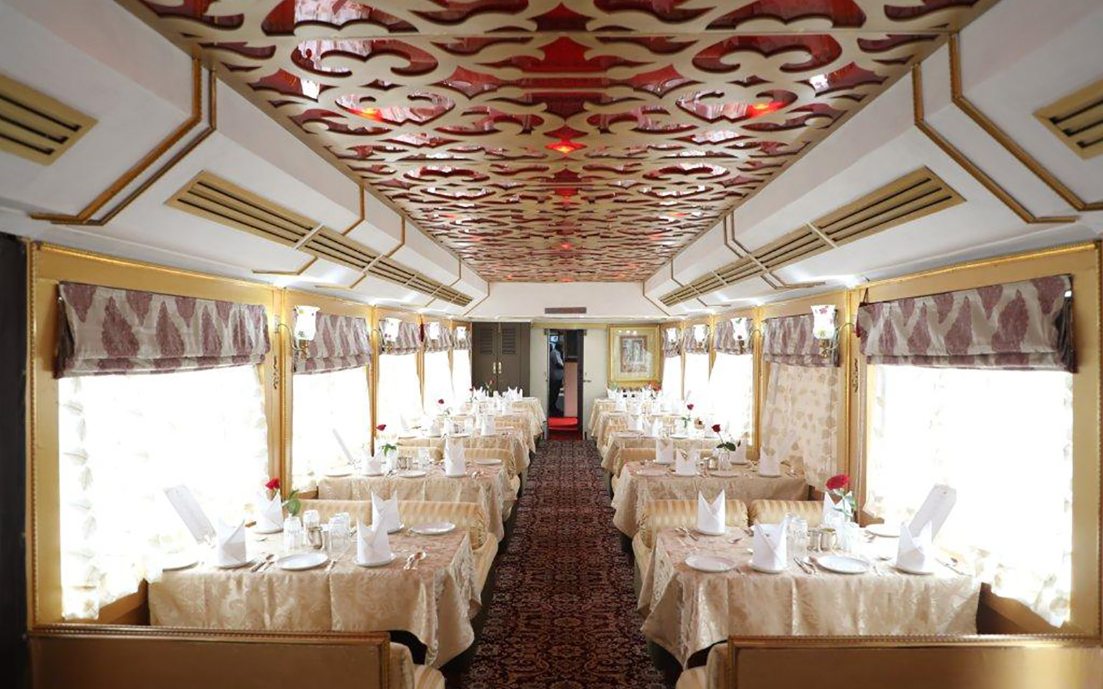 Dining Car on board the Palace on Wheels luxury train