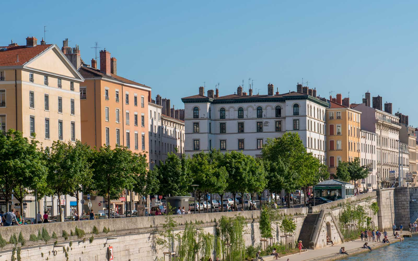 Promenade of the Saone River in Lyon, France