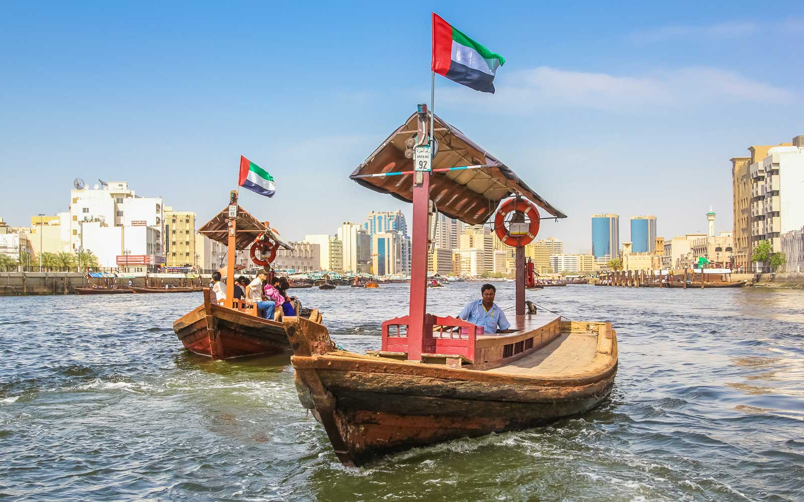 Traditional Abra ferries along Dubai Creek