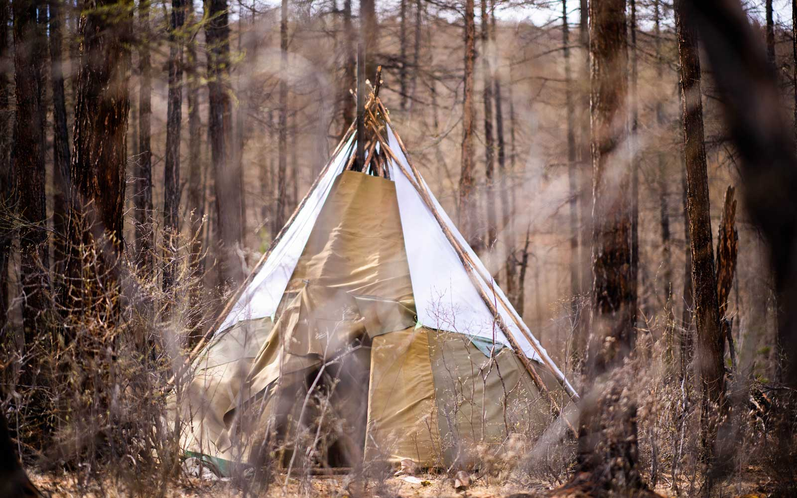 The stay is in a traditional teepee.