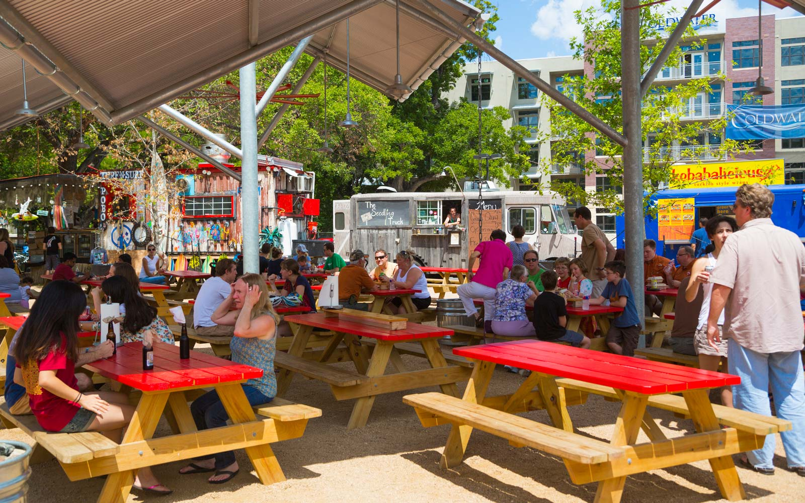 Barton Springs Picnic is a area for food trucks or carts on Barton Springs Road, in Austin, Texas.