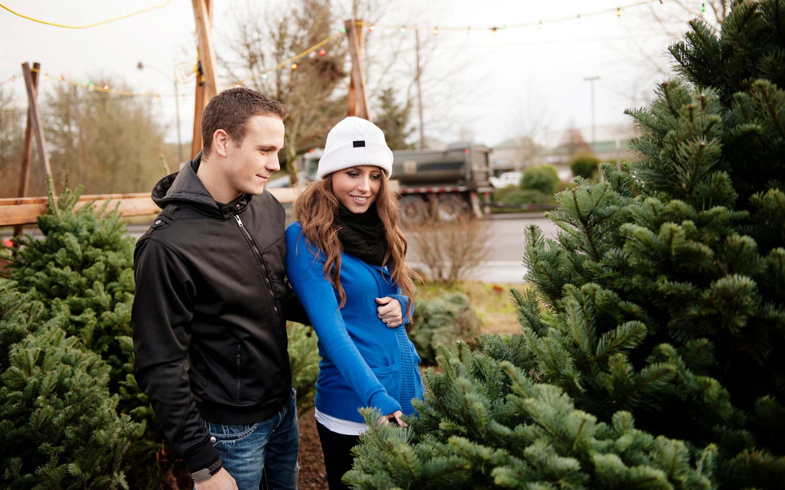 Couple checking Christmas tree at stall