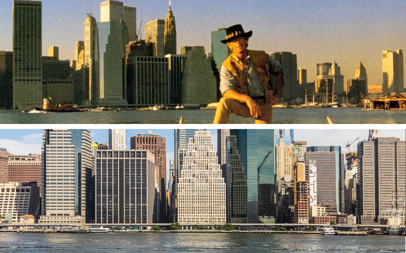 CROCODILE DUNDEE II. Image shot 1988 and Manhattan financial district in New York City in 2017