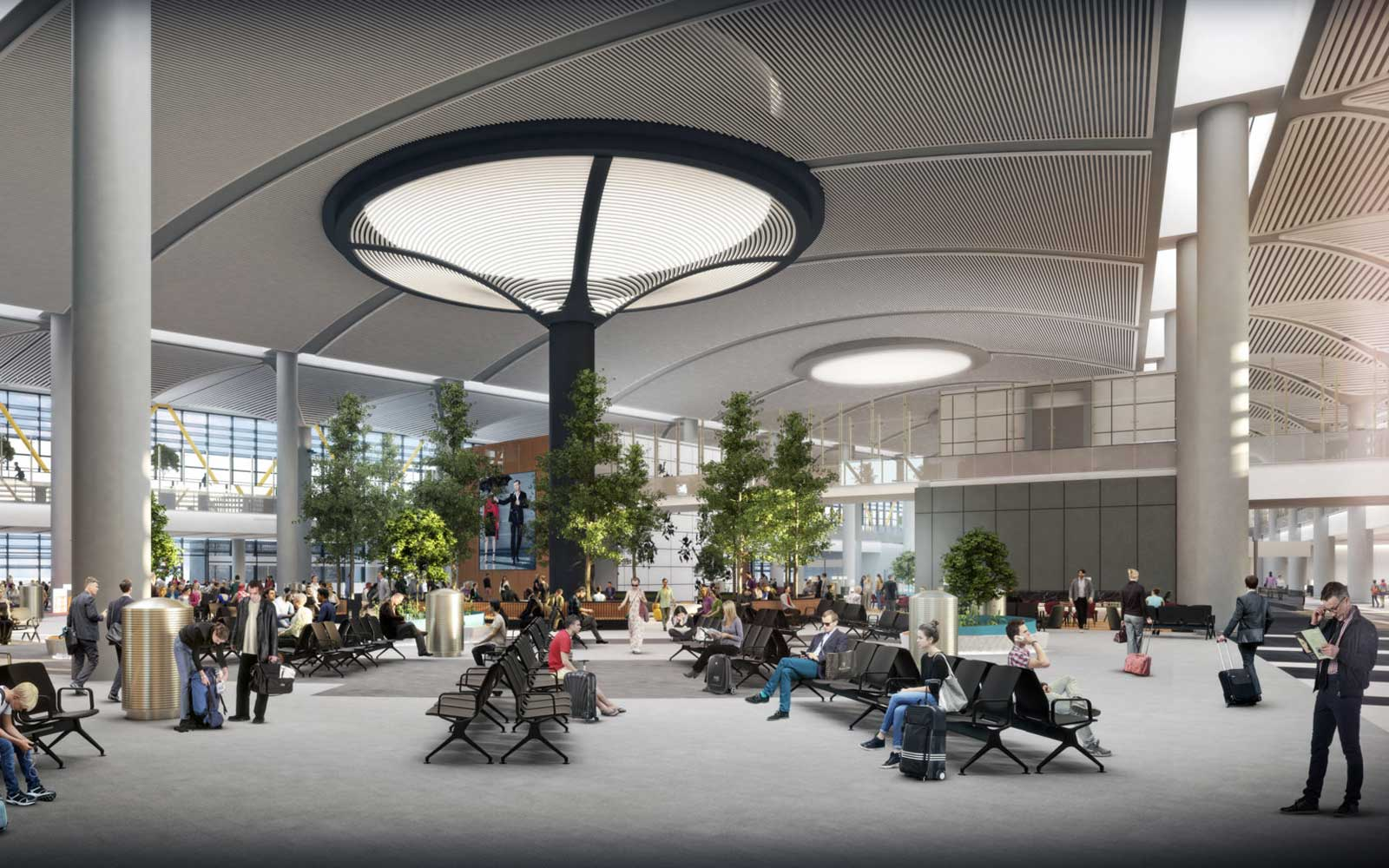 The airport's design draws from traditional mosques, historic structures, and baths in Turkey.