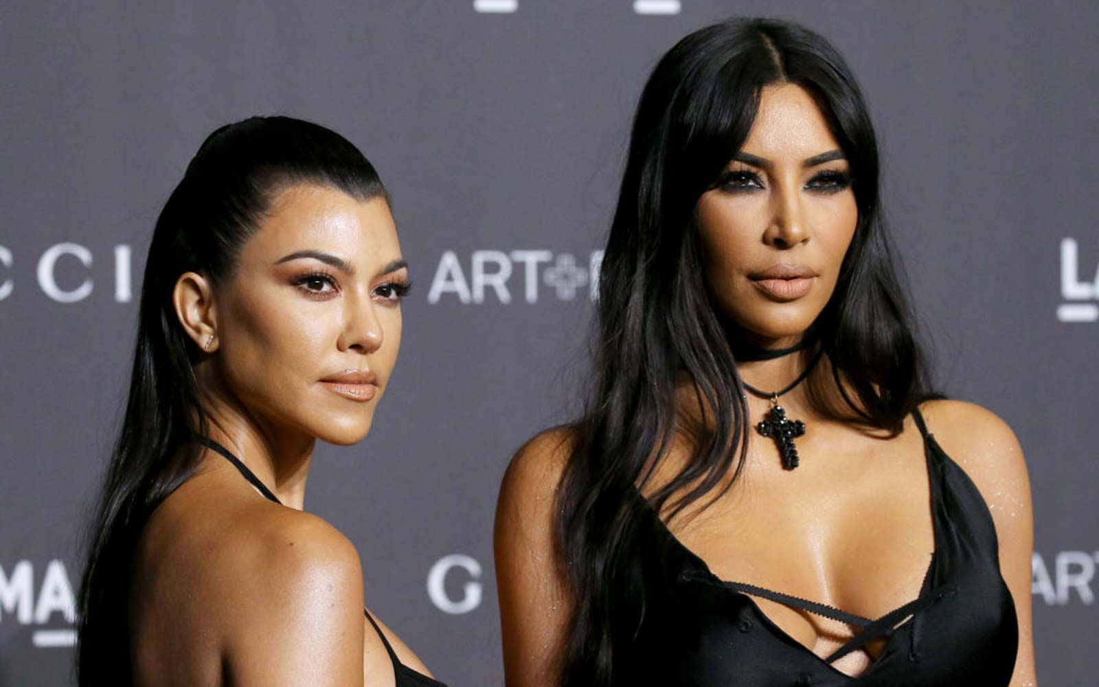 Kourtney Kardashian and Kim Kardashian West attend the 2018 LACMA Art + Film Gala held at LACMA