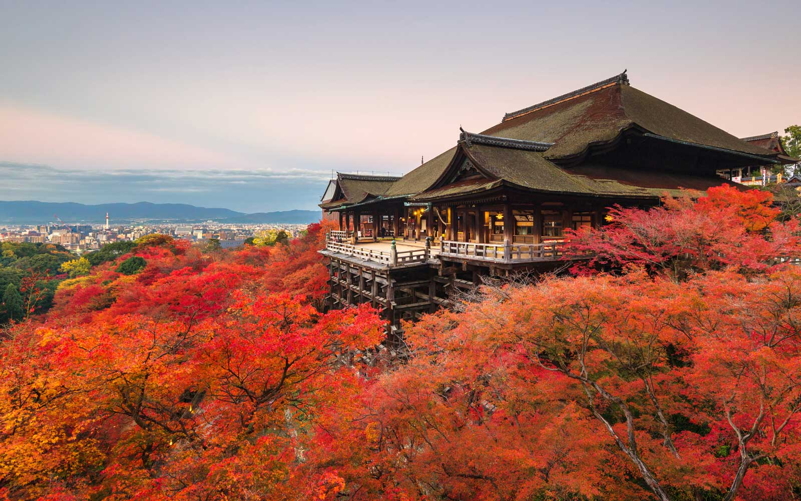 Overlook of Kiyomizu-dera temple in Autumn, in Japan