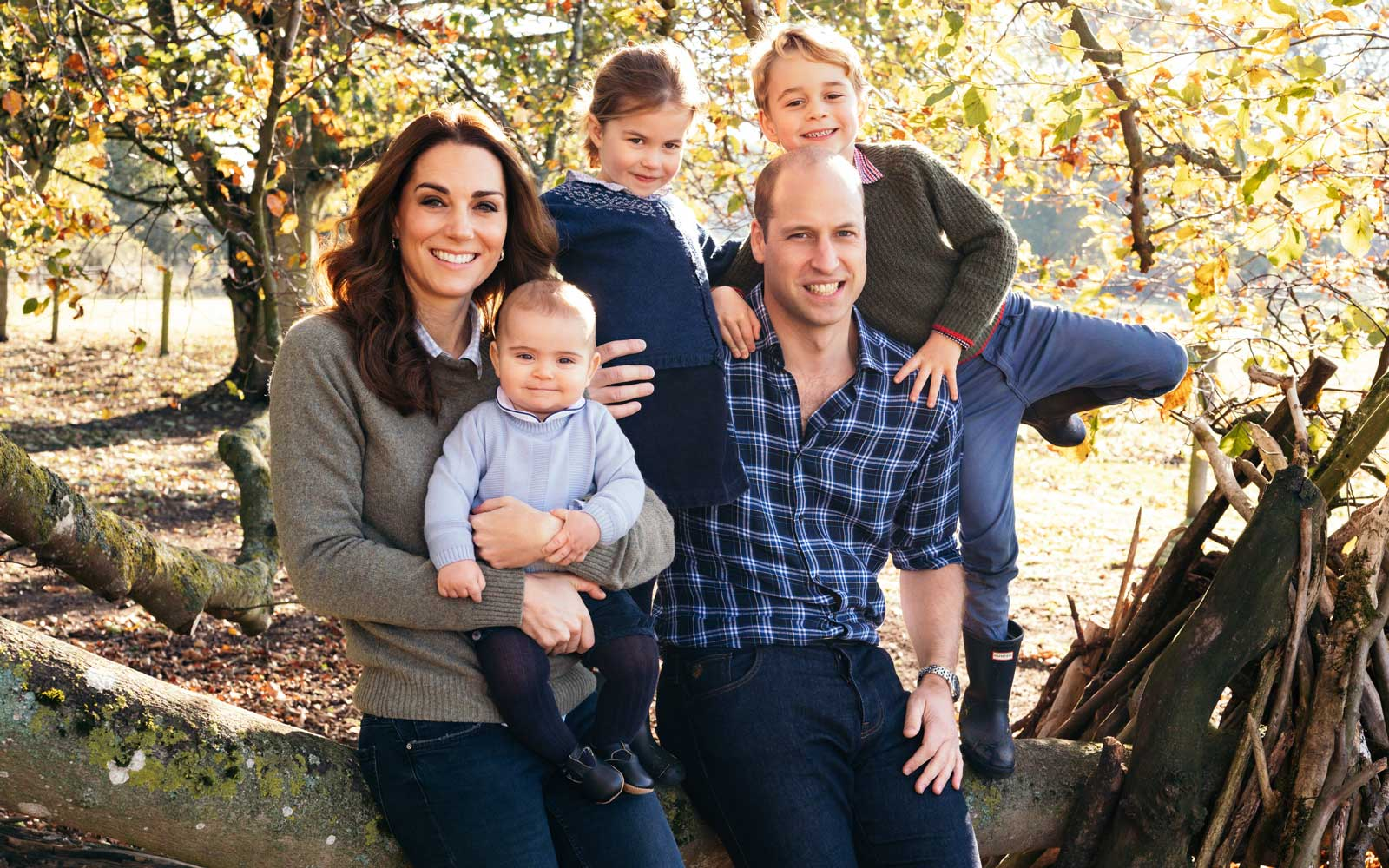Duke and Duchess of Cambridge with their three children, Prince Louis, Princess Charlotte and Prince George