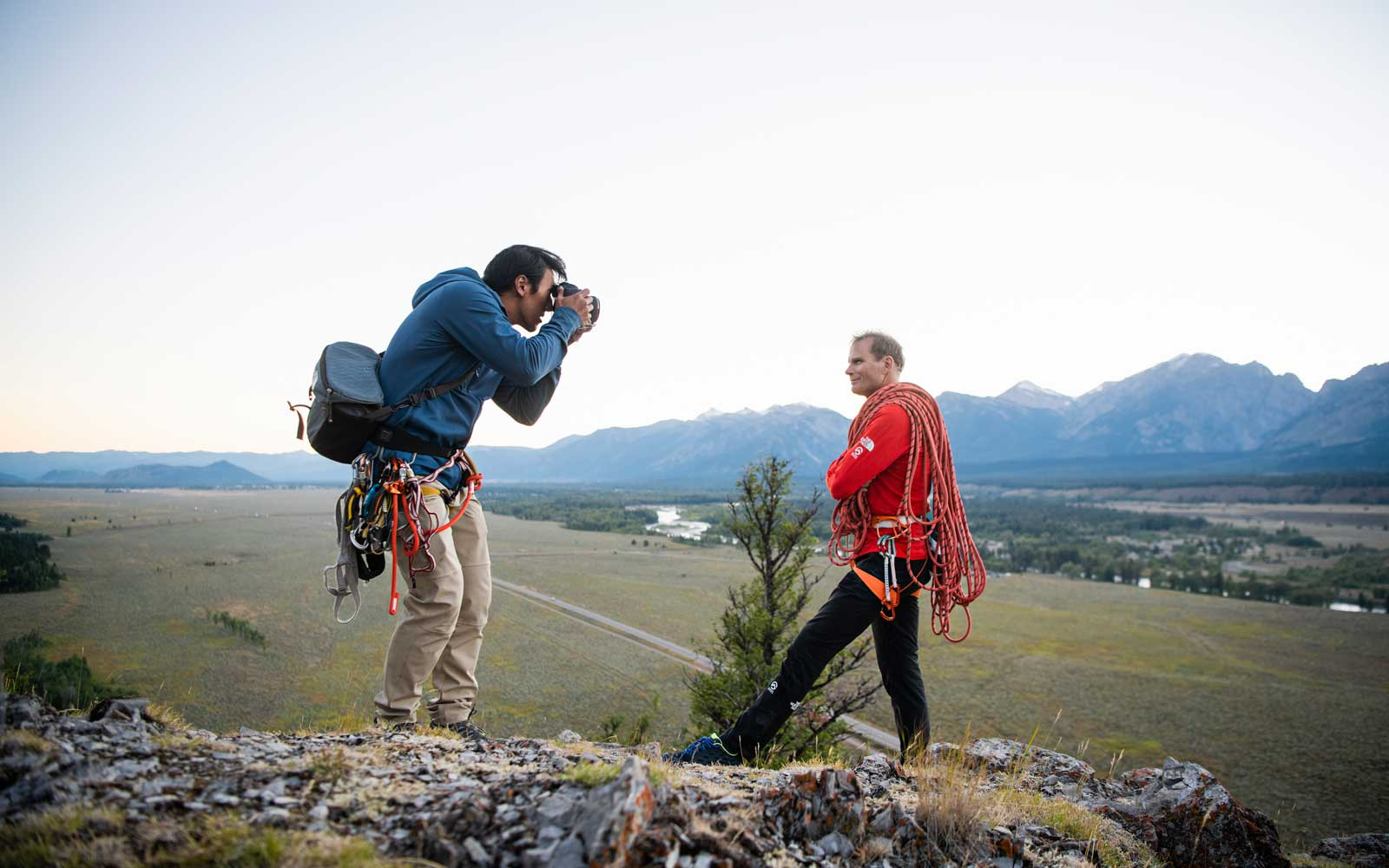 Jimmy Chin snaps a photograph during a shoot.