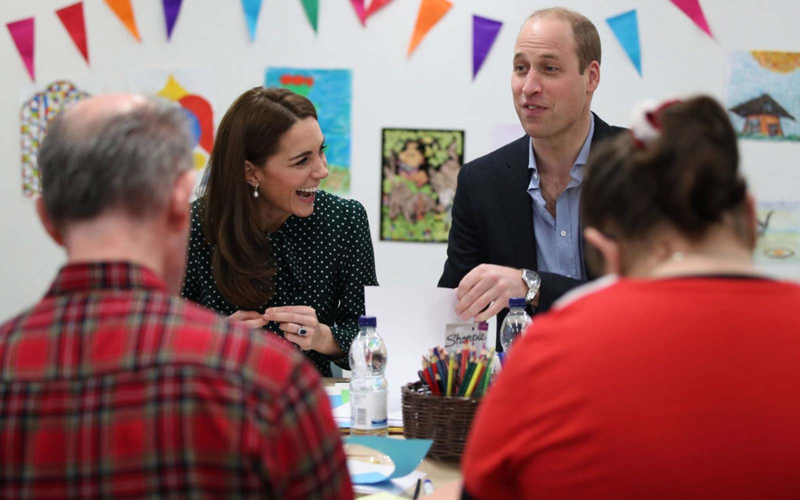 Catherine, Duchess of Cambridge and Prince William, Duke of Cambridge take part in an art and craft session