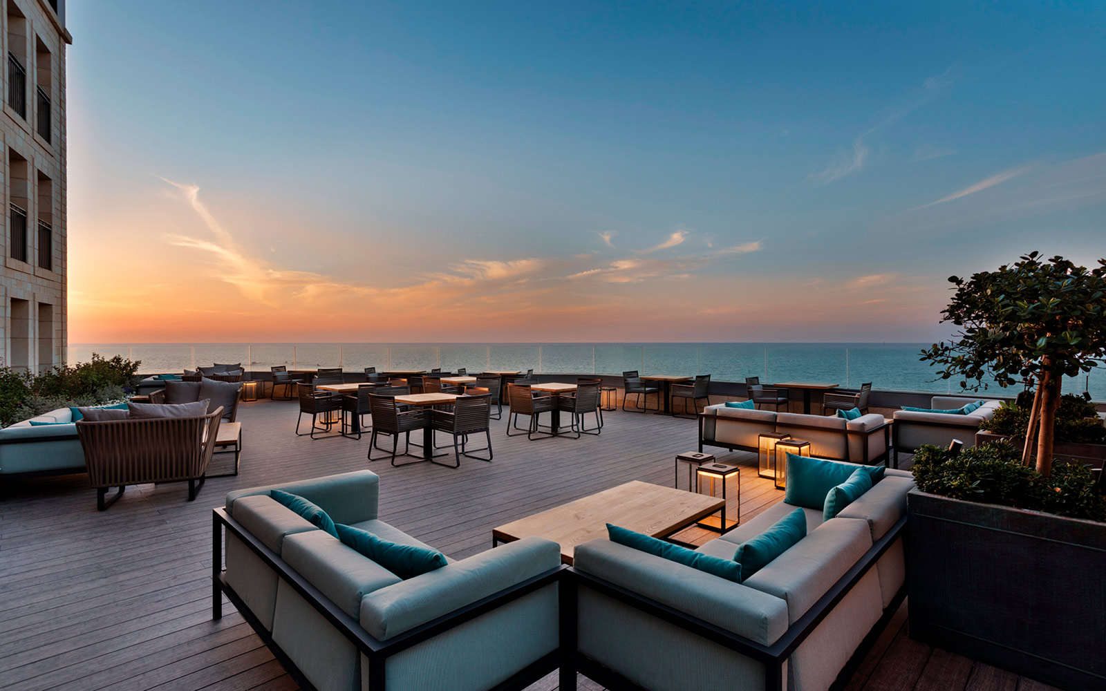 Terrace during sunset at The Setai Tel Aviv
