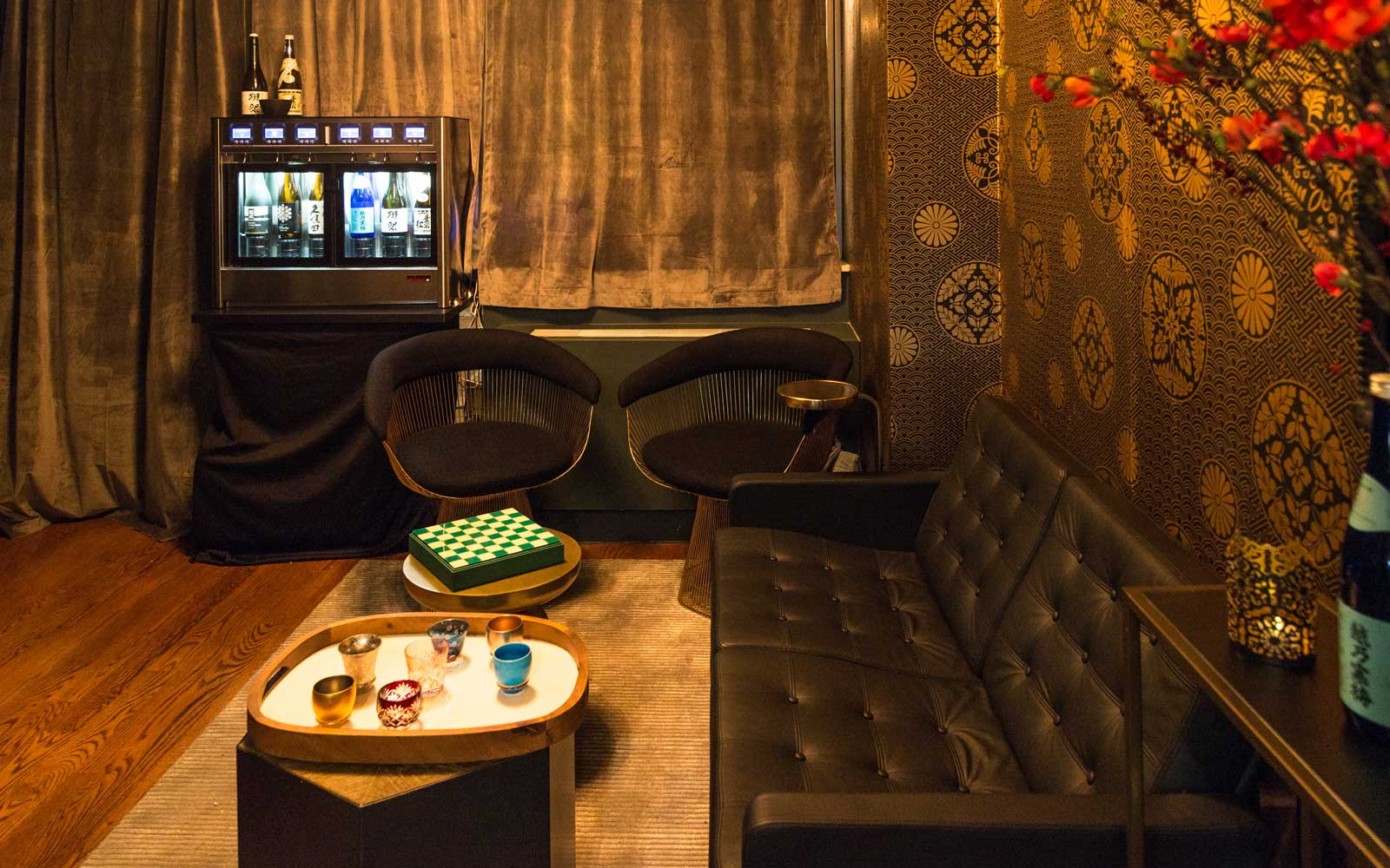 The lounge area at the Sushi by Bou Suite 1001 offers a cozy atmosphere.