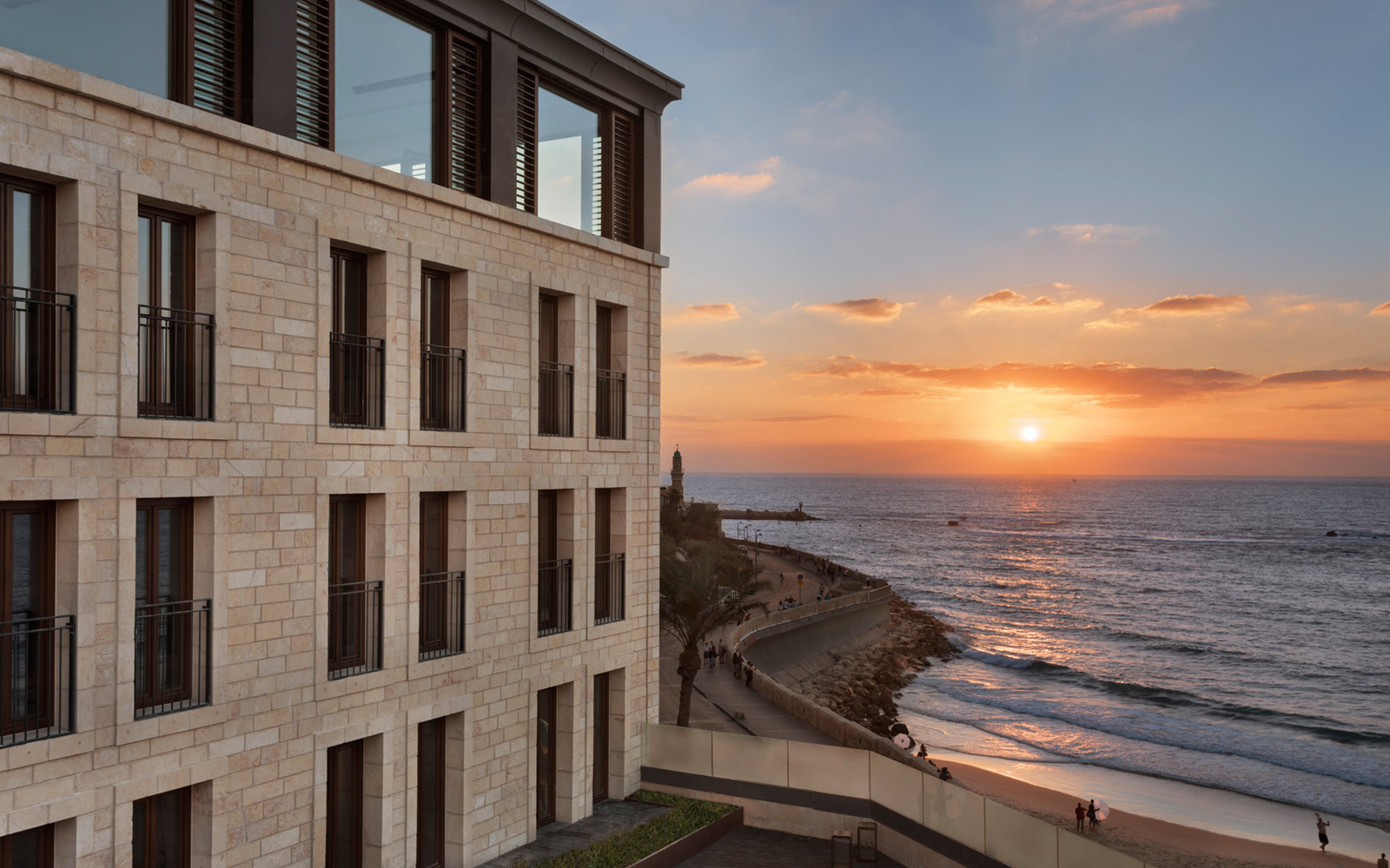 Beach view at The Setai Tel Aviv during sunset