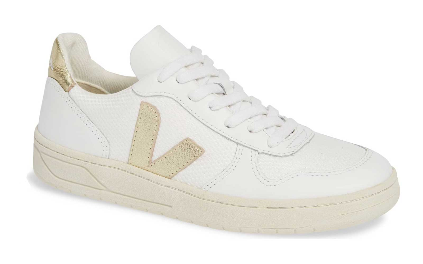 Veja V-10 sneakers with gold trim