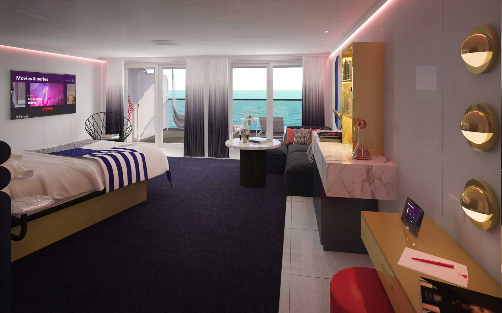 Gorgeous Suite Bedroom on board Virgin Cruises Scarlet Lady Ship