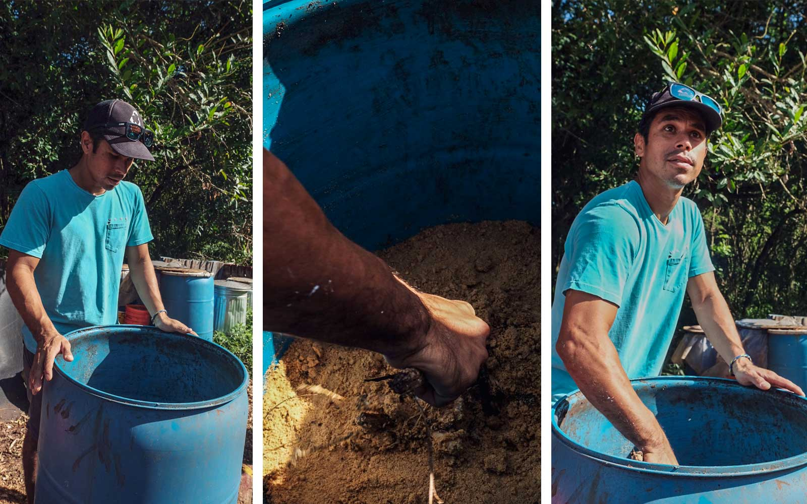 Kahi Pacarro, Executive Director of Sustainable Coastline Hawaii, sifts through compost.