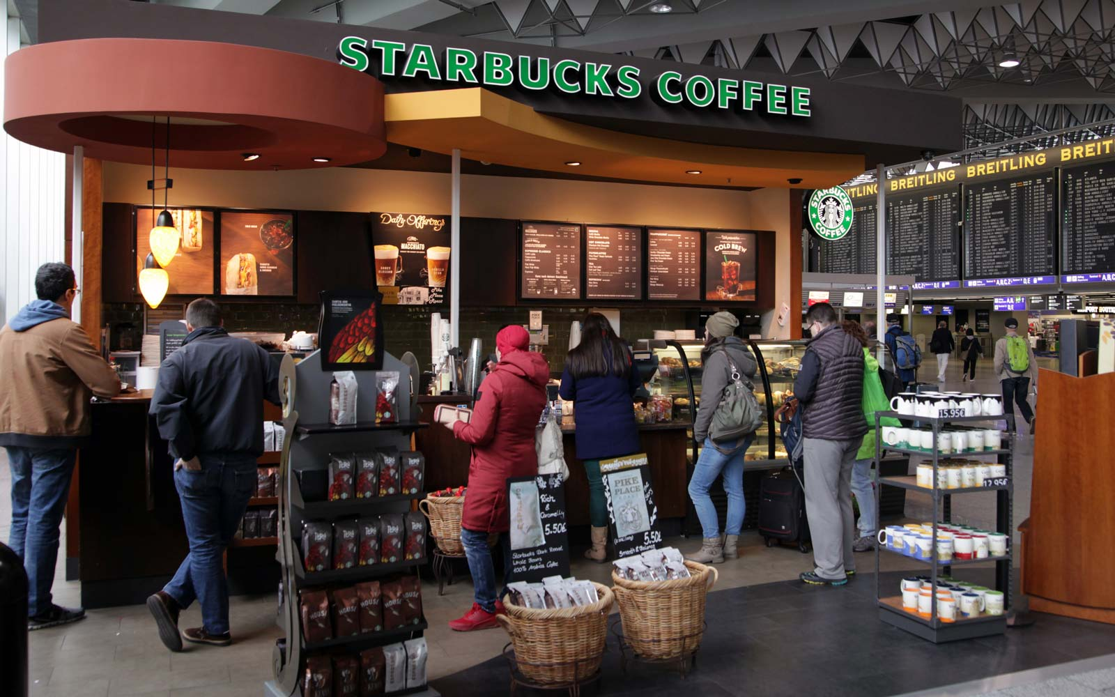 People queing up on coffee and snackbar