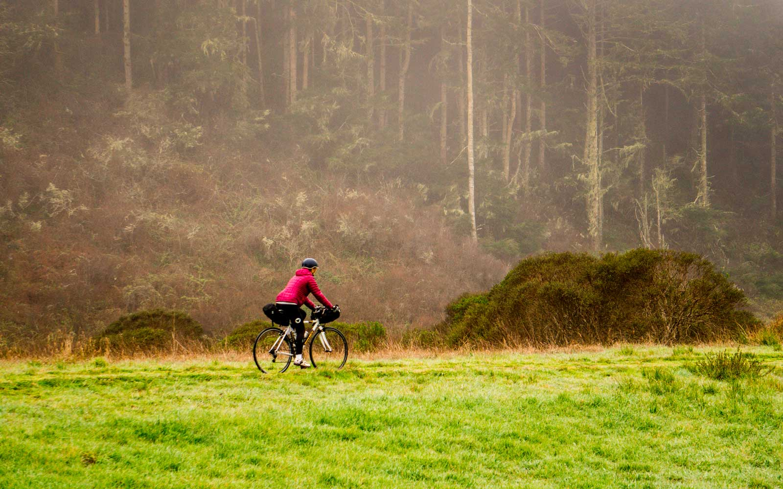 Riding bicycle on trail