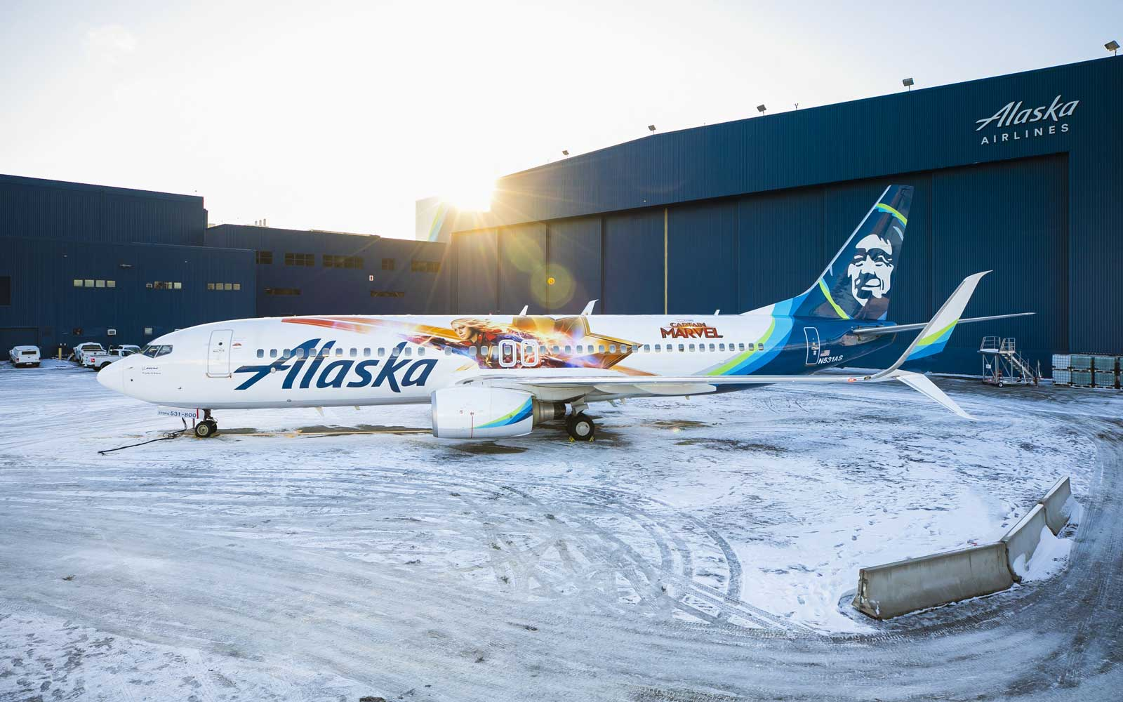 Captain Marvel wrap on Alaska Airlines plane
