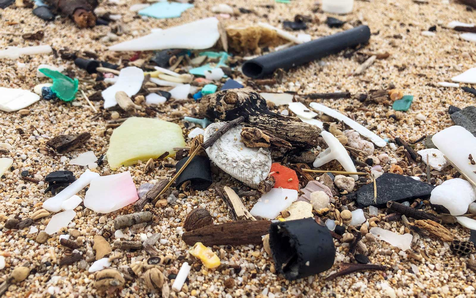 Plastic in Hawaii beach sand