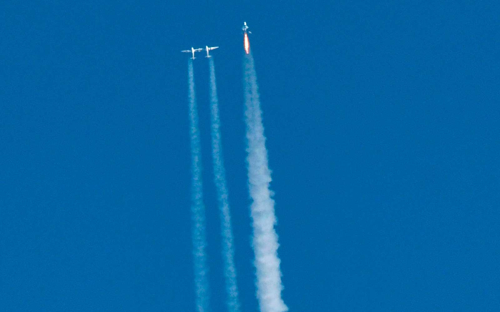 Virgin Galactic's VSS Unity launches for a suborbital test flight on December 13, 2018, in Mojave, California