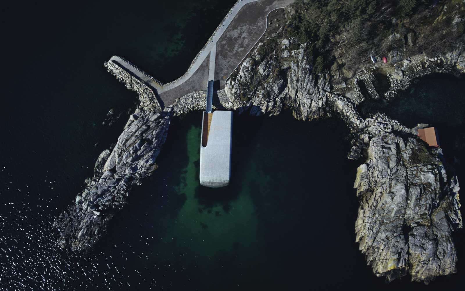 Aerial view of Under, a restaurant in Norway with an underwater dining room