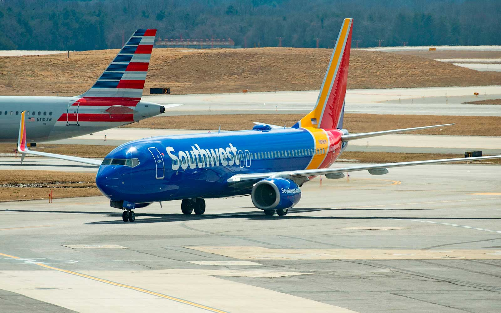 American and Southwest Airlines' planes