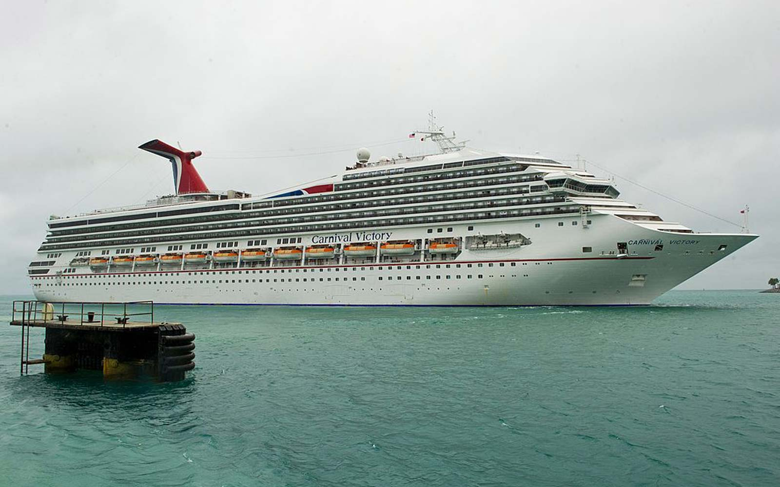 The Carnival cruise ship Victory departs port