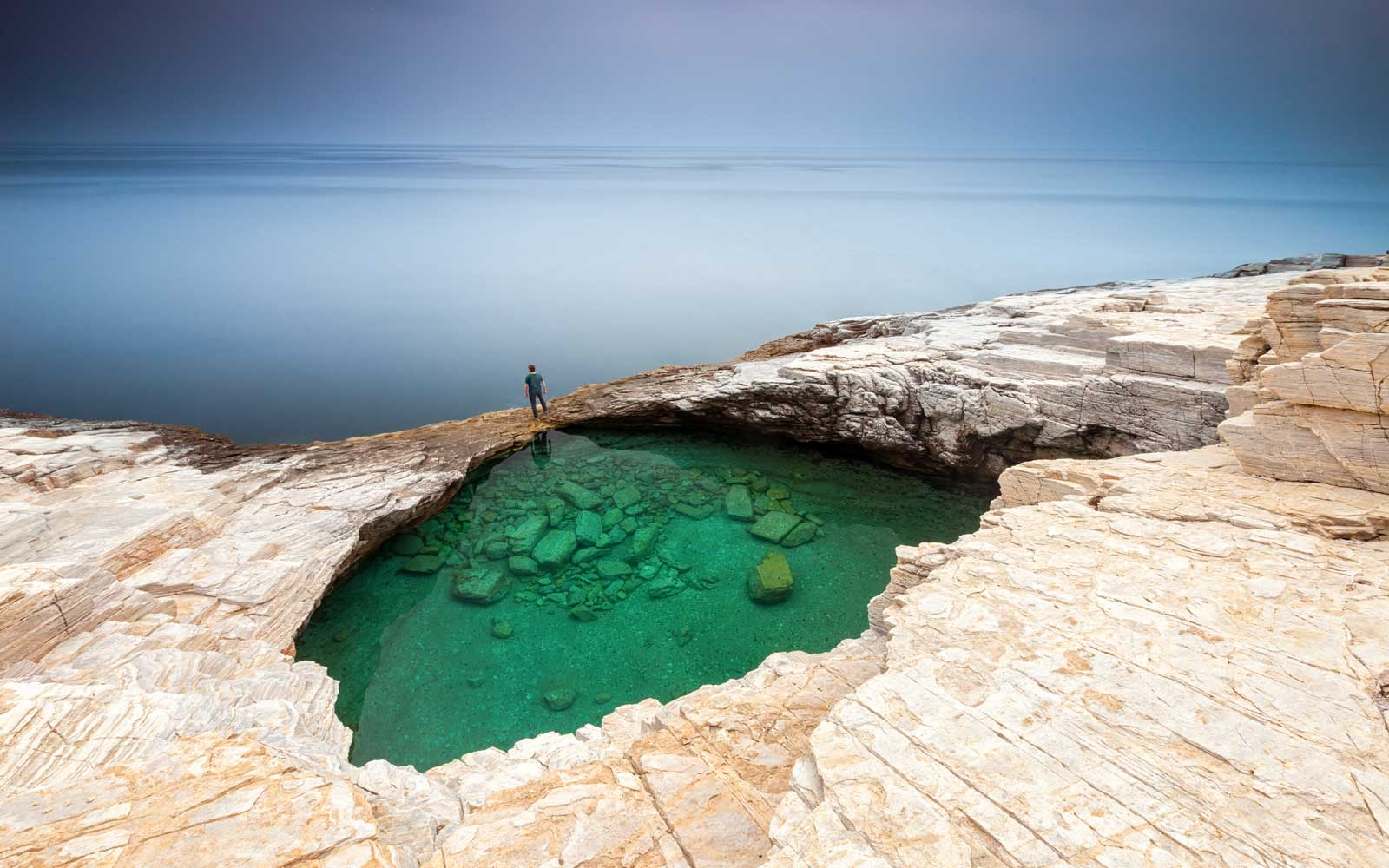 Giola is a natural pool located on the island of Thassos.