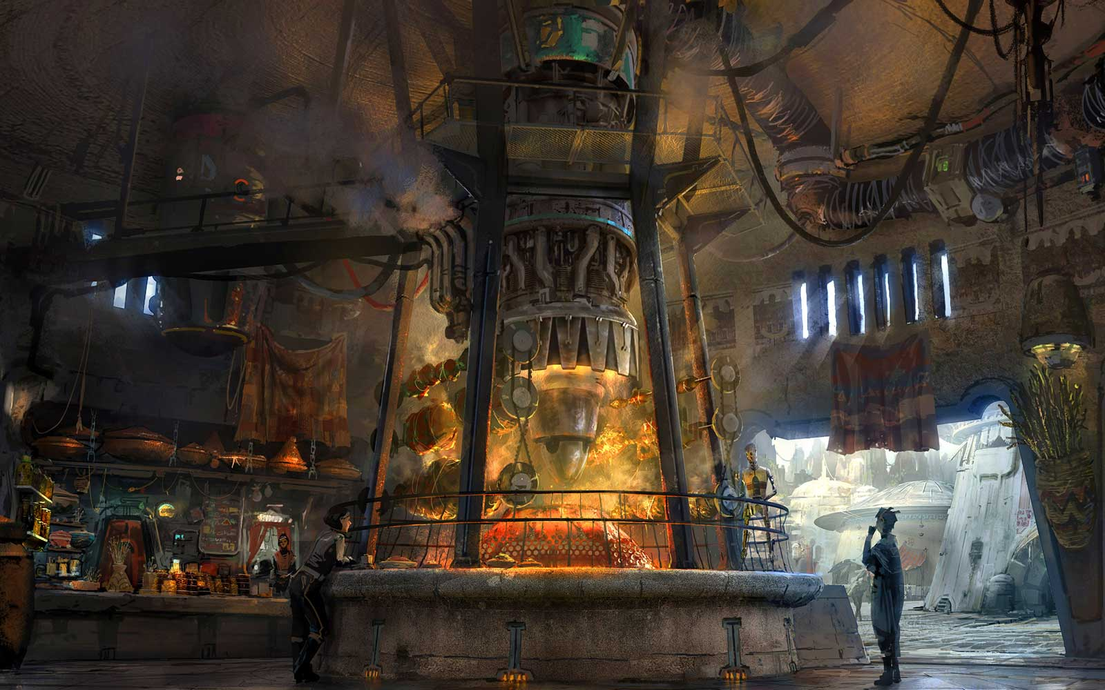 Ronto Roasters will feature savory meats spit-roasted over  a former Podracer engine at Star Wars: Galaxy's Edge. [Concept Art]