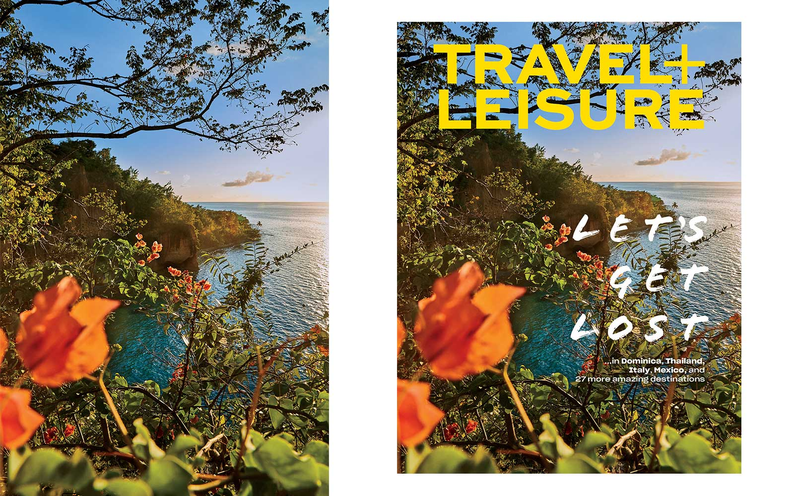 View from Secret Bay Resort in Dominica, on the April 2019 cover of Travel + Leisure magazine