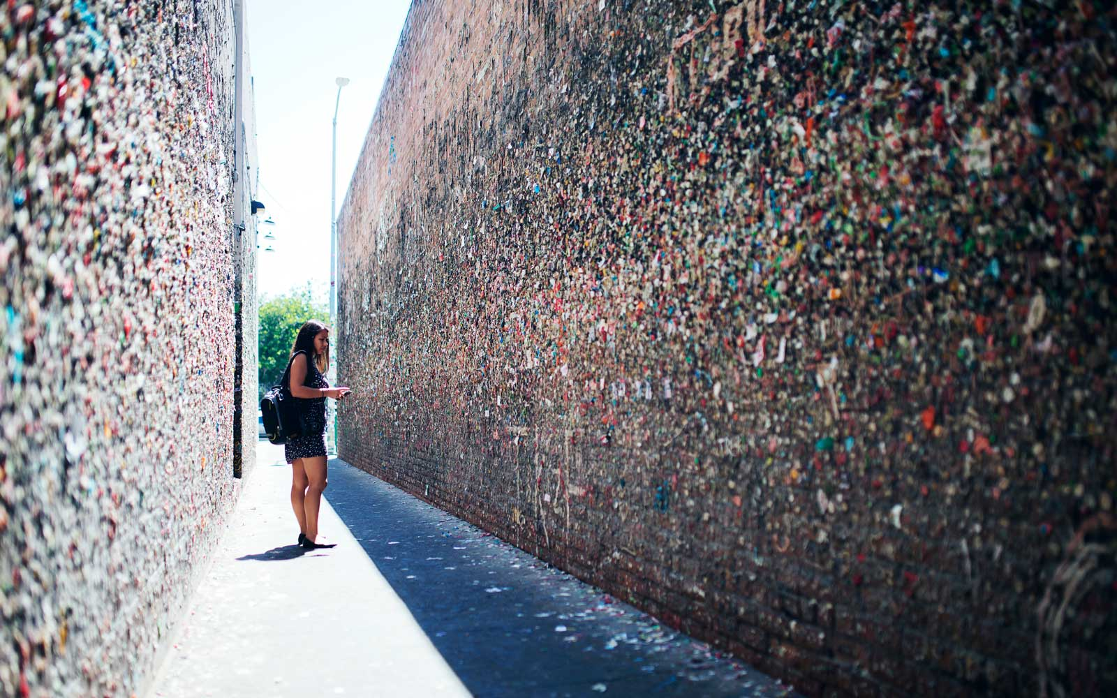 Bubblegum Alley, a quirky tourist attraction in San Luis Obispo, California.