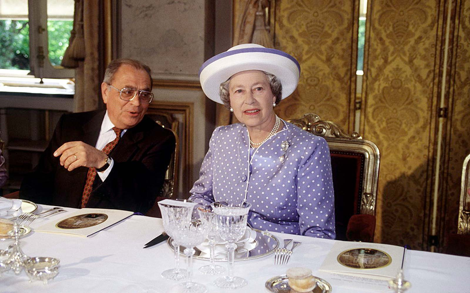 The Queen At A Luncheon In Paris, France.