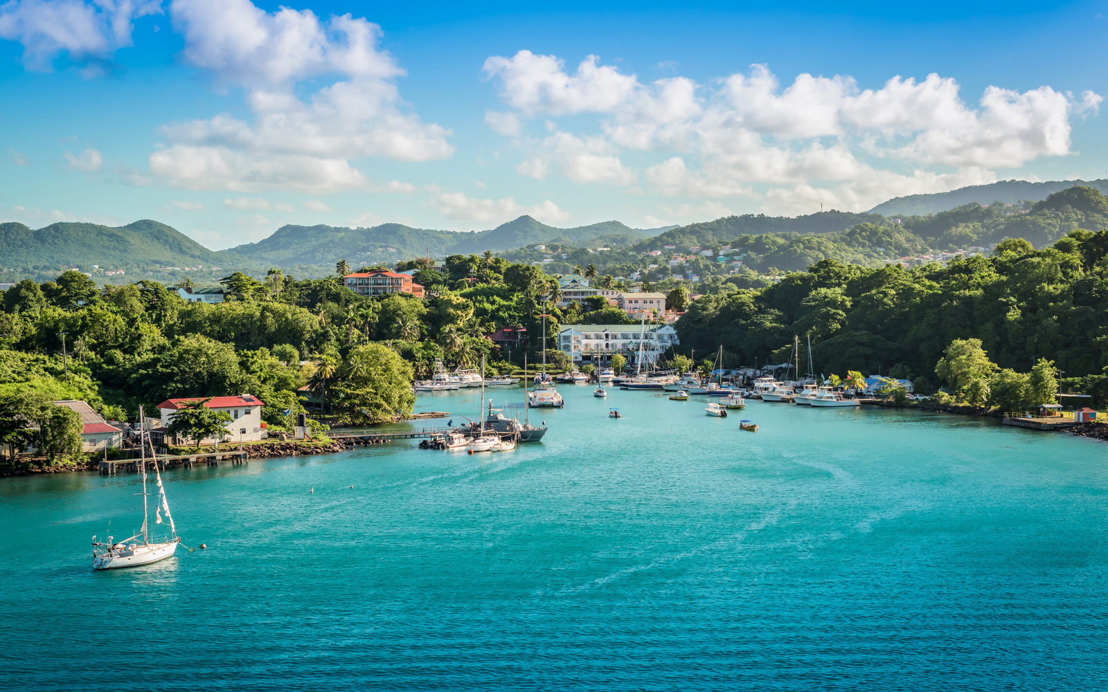 Marina landscape of Castries, St Lucia