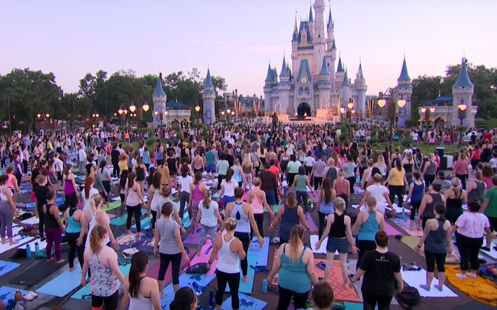 Sunrise yoga at Disneyland for International Yoga Day