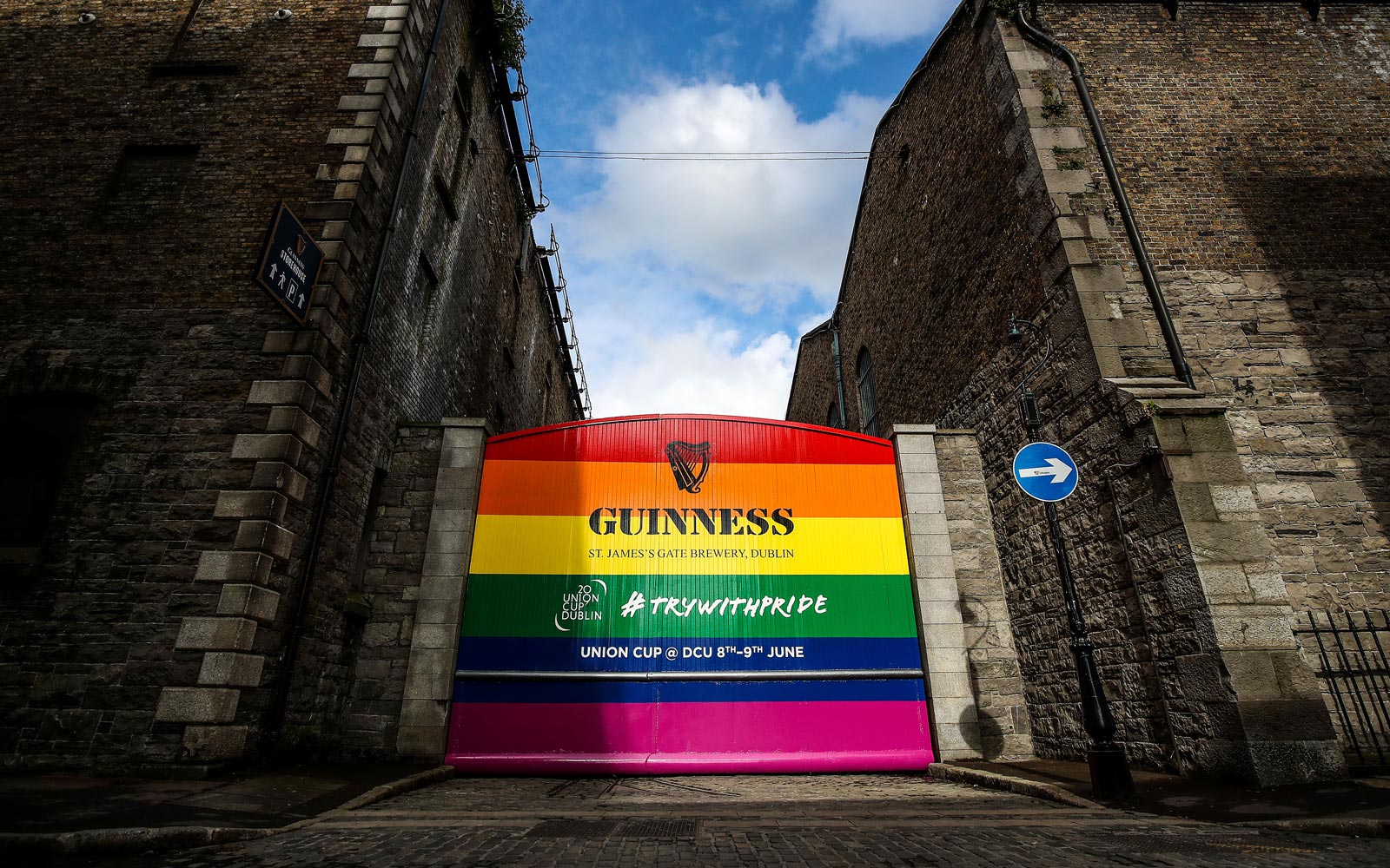 Guinness Is Celebrating Pride and the Union Cup by Painting Its Historic Gates Rainbow Colors
