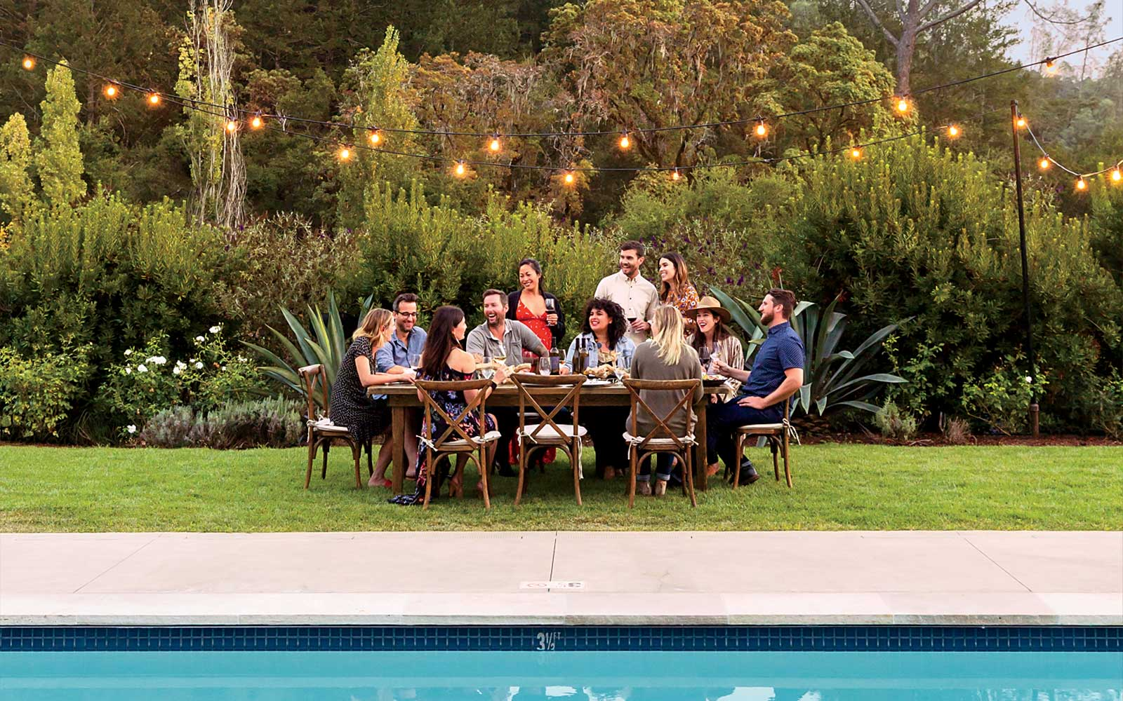 Poolside dinner at Calistoga Ranch