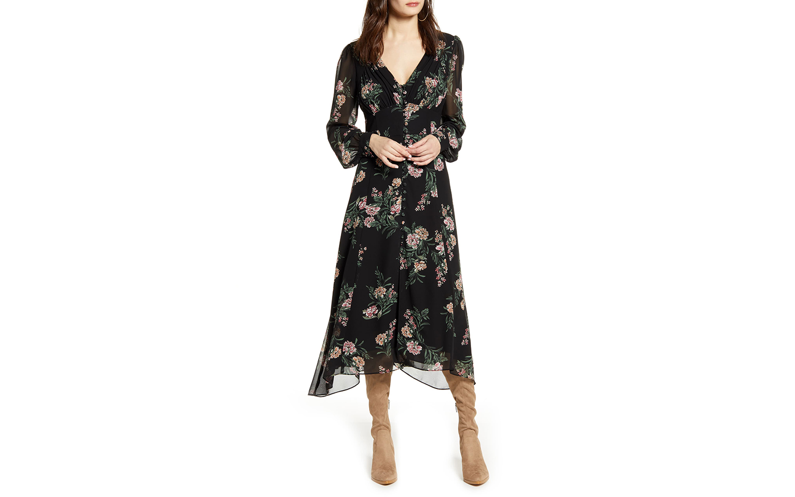 ASTR The Label Floral Long Sleeve Midi Dress