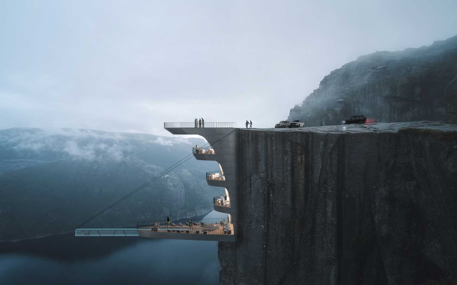 This Glass-bottom Pool Would Be Suspended Nearly 2,000 Feet Above a Fjord