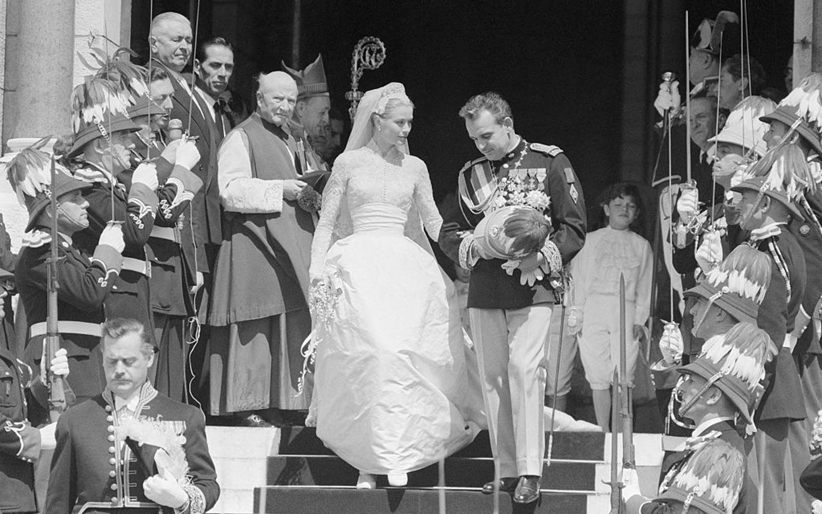 Grace Kelly and Prince Rainier Exiting the Cathedral