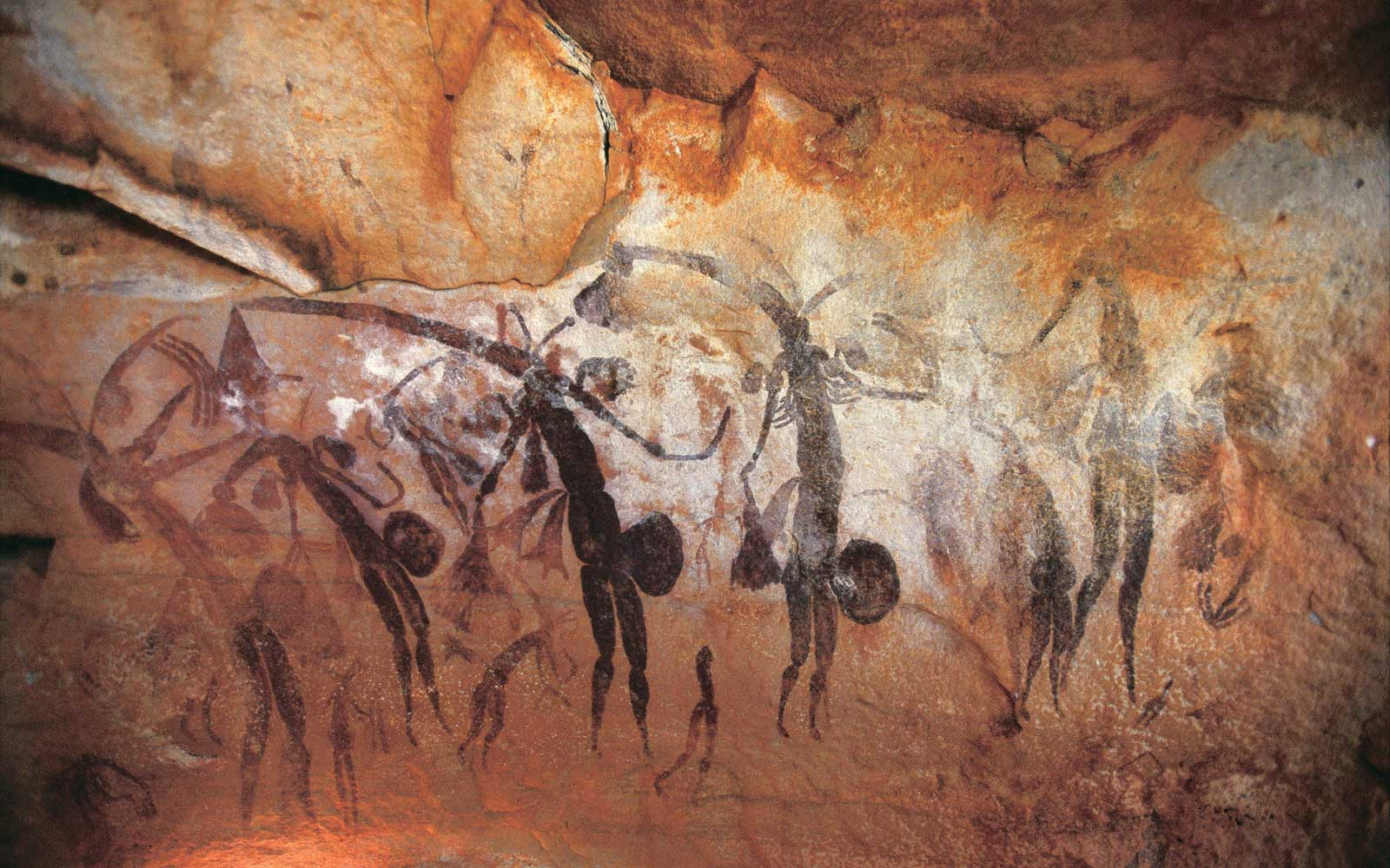 Ancient rock art at Gwion Gwion, in Australia