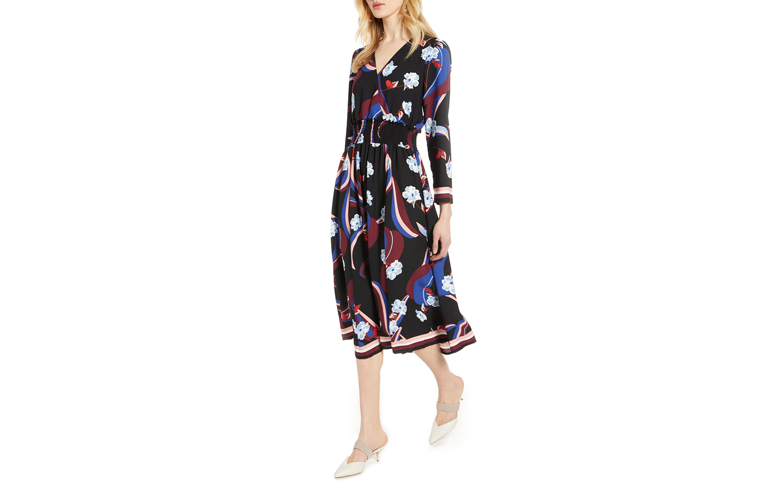 Halogen Smock Waist Long Sleeve Dress